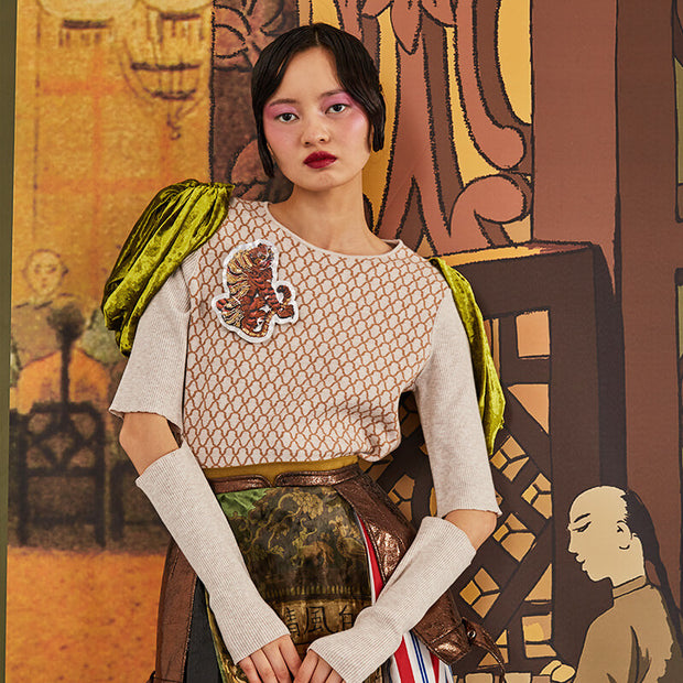 Mukzin Long-sleeved Embroidered Contrast Color High-necked Knitted Sweater- The Theater of Mao'er