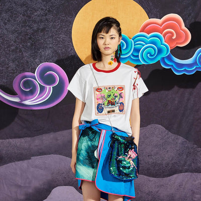 Mukzin Round Neck Women White T-shirt - Chaos of Mountains and Seas