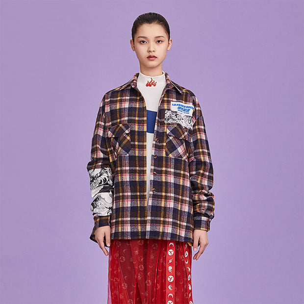 Mukzin Designer Brand Hand-painted Pattern Plaid Stitching Women Wool Shirt - Ne Zha