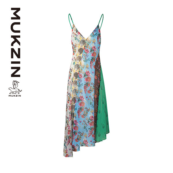 Mukzin Designer Brand Floral Stitching Print Dress- SPACE IN THE GOURD