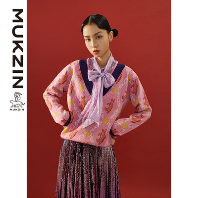Mukzin Designer Brand V-Neck Pink Sweater - SPACE IN THE GOURD