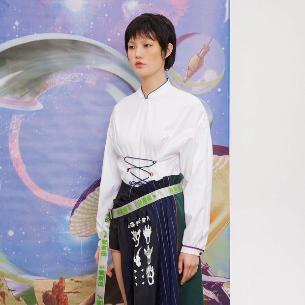 Mukzin Chinese Style Stand Collar Women Shirt - Chaos of Mountains and Seas