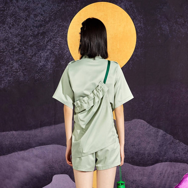 Mukzin Casual Tooling Women Light Green Rompers - Chaos of Mountains and Seas