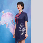 Mukzin Stripe Stitching Women Cheongsam - Chaos of Mountains and Seas