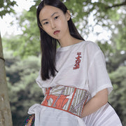Mukzin Chinese Style Embroidery Women White T-shirt - Jade In The Shadow