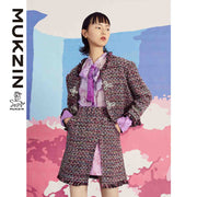 Mukzin Designer Brand Hand-Woven Ribbon Buckle Small Fragrance Coat - SPACE IN THE GOURD