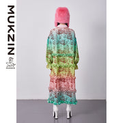 Mukzin Designer Brand Gradient Print Long Dress - SPACE IN THE GOURD