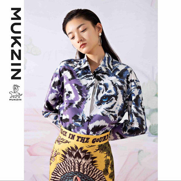 Mukzin Designer Brand Tiger Stripe Loose Shirt - SPACE IN THE GOURD