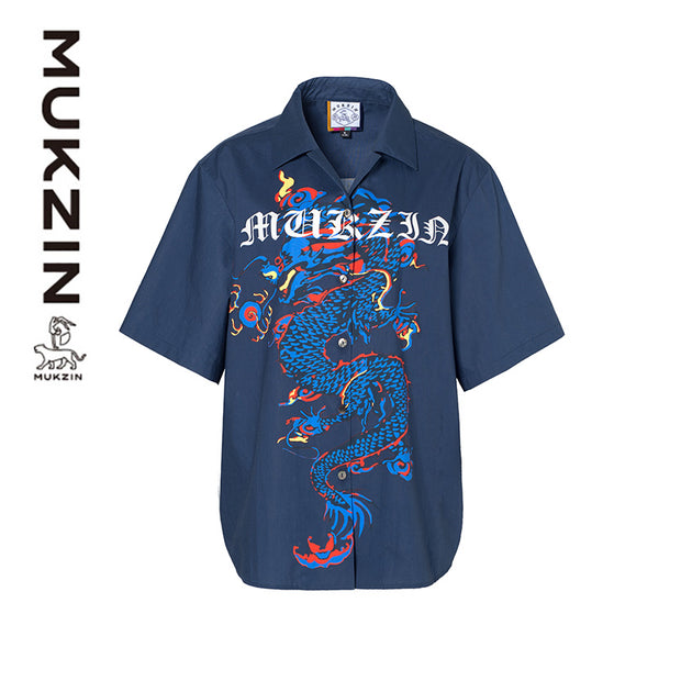 Mukzin Designer Brand  Chinese dragon Print Blue T-shirt- Kowloon Walled City