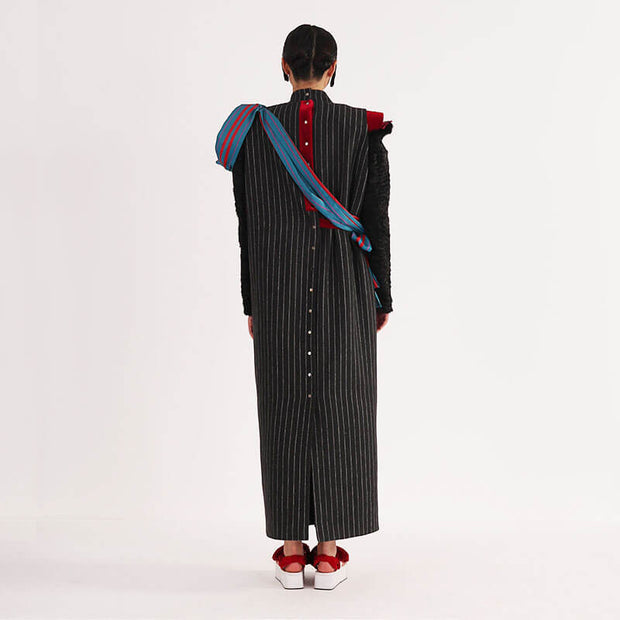 Mukzin Original Design Vertical Stripes Women Loose Wool Coat - The Theater of Mao'er