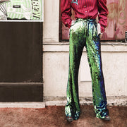 Mukzin Paris Fashion Week Fantasy Sequins Women Loose Pants - Jade In The Shadow