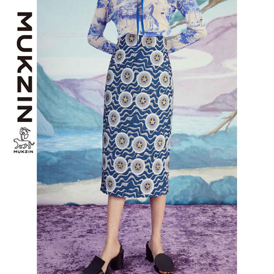Mukzin Designer Brand Geometrical Pattern Half Skirt - SPACE IN THE GOURD
