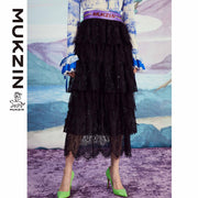 Mukzin Designer Brand Fashion Lace Stitching Versatile Half Skirt - SPACE IN THE GOURD
