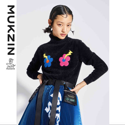 Mukzin Designer Brand Cute Flower Contrast High Collar Knit- SUPER POWER