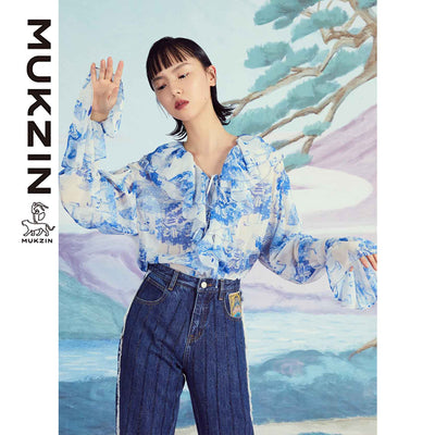 Mukzin Designer Brand Yoyi Print Cascading Shirt  - SPACE IN THE GOURD