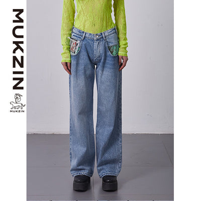Mukzin Designer Brand Straight Jeans- SPACE IN THE GOURD