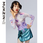 Mukzin Designer Brand Purple Bottoming Shirt-ADVENTURE IN SPACE