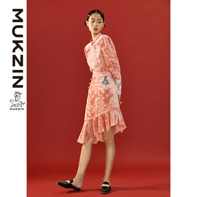 Mukzin Designer Brand  Floral Print Velvet Pink Shirt- SPACE IN THE GOURD