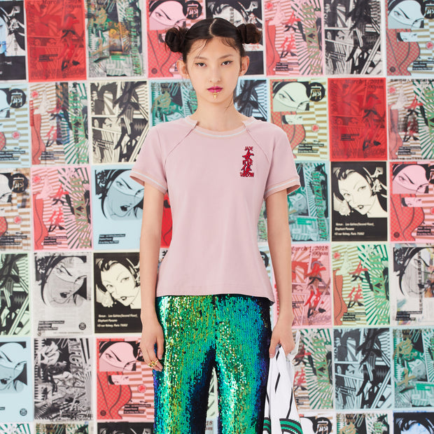 Mukzin Lace Embroidery Short Sleeve Pink T-shirt - Jade In The Shadow