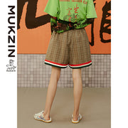 Mukzin Designer Brand Summer High Waist Casual Beige Shorts- Kowloon Walled City