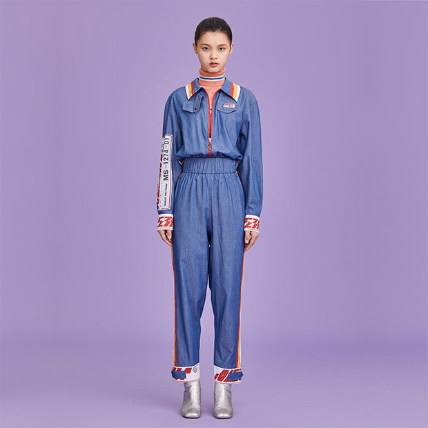 Mukzin Designer Brand Cartoon Pattern Patch Women Jumpsuit - Ne Zha