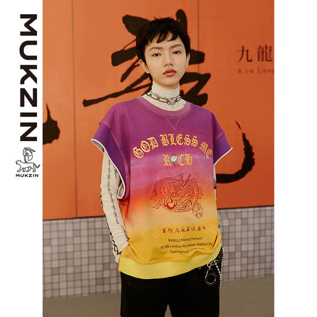 Mukzin Designer Brand Text Print Gradient Contrast Color T-shirt- Kowloon Walled City
