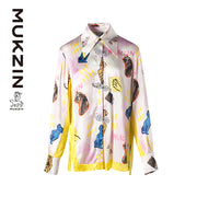 Mukzin Designer Brand Contrast Color Long-Sleeved Shirt - SPACE IN THE GOURD