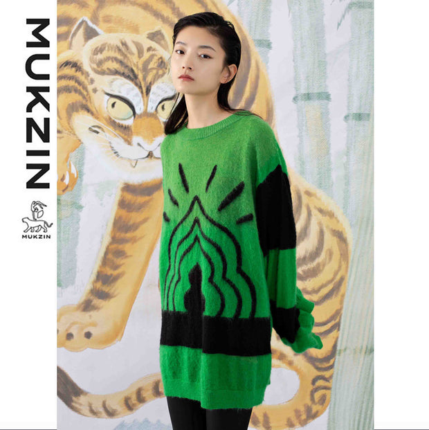 Mukzin Designer Brand Green Loose Sweater - SPACE IN THE GOURD