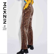 Mukzin Designer Brand Leopard-print High Waist Pants - SUPER POWER