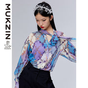 Mukzin Designer Brand Purple Shirt with Bow-tie-ADVENTURE IN SPACE