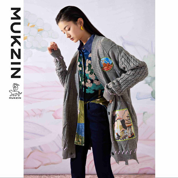 Mukzin Designer Brand Gray Cardigan- SPACE IN THE GOURD