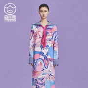 Mukzin Designer Brand Sailor Collar Women Straight Long Sleeve Dress - Ne Zha