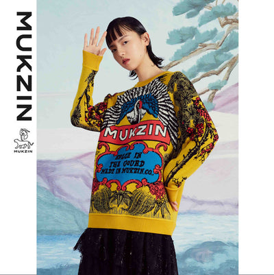 Mukzin Designer Brand Original Design Yellow Oversized Sweater - SPACE IN THE GOURD