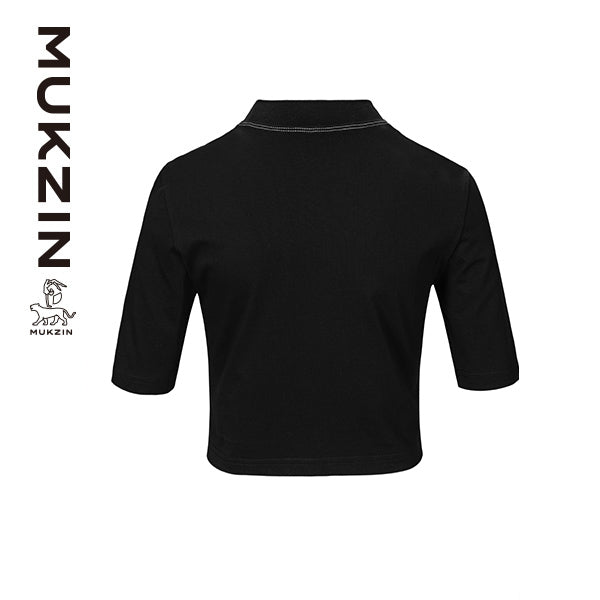 Mukzin Designer Black T-Shirt with Embroidered Logo -ANIMAL DANCE