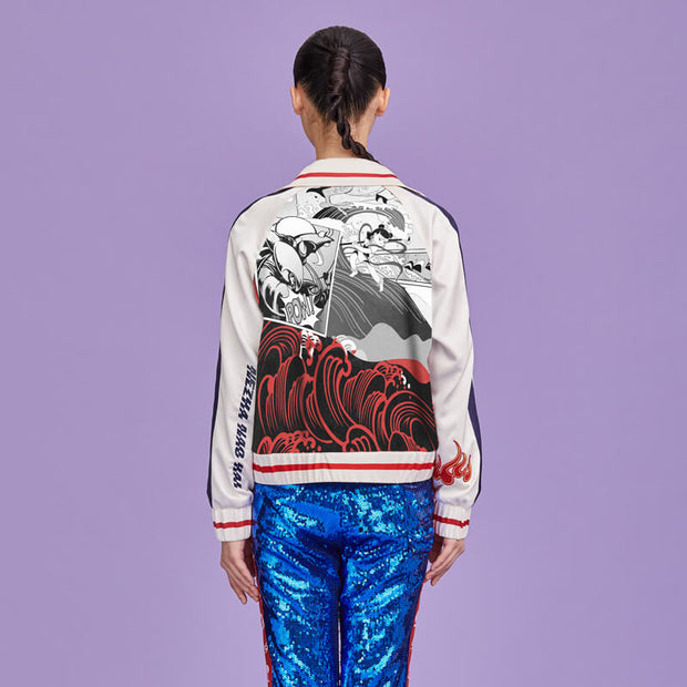 Mukzin Cartoon Print Embroidery Letters Women Jacket- Ne Zha