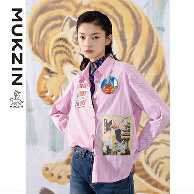 Mukzin Designer Brand Pink Stripe Pattern Fashion Shirt - SPACE IN THE GOURD