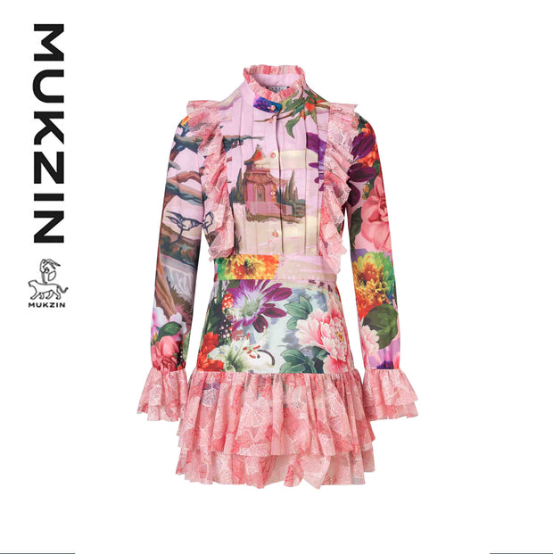 Mukzin Designer Brand Stitching Printed Lace Dress- SPACE IN THE GOURD
