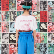 "Mukzin Two Side Color Stitching ""Wing Chun"" Women Pink T-shirt - Jade In The Shadow"
