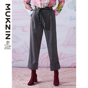 Mukzin Designer Brand Hand-Woven Belt Stitching Pants - SPACE IN THE GOURD
