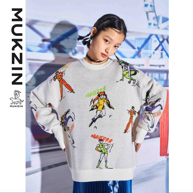 Mukzin Designer Brand Cartoon Character Print Sweater - SUPER POWER