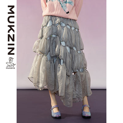Mukzin Designer Brand Irregular Gray Mesh Half Skirt-ADVENTURE IN SPACE