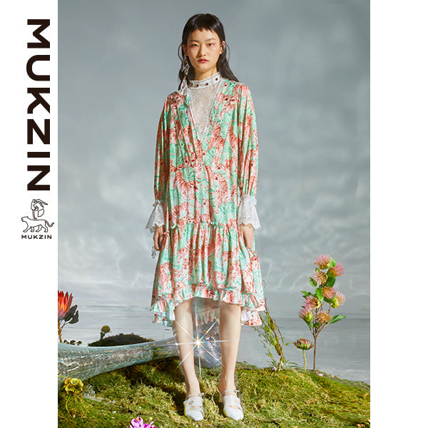 Mukzin Designer Brand Tiger Print in Gouache Style Dress - DRAGON SCALE PAVILION