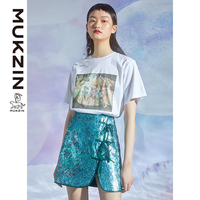 Mukzin Designer Brand Green Skirt With Ribbon Bow Trimmed - DRAGON SCALE PAVILION