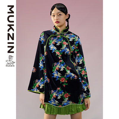 Mukzin Designer Brand Black Qipao in Pleated Style-ADVENTURE IN SPACE