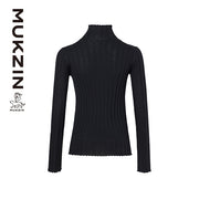 Mukzin Designer Brand Black Slim Embroidery Decorative Knit Sweater - SPACE IN THE GOURD