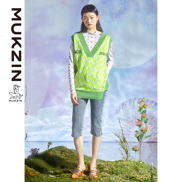 Mukzin Designer Green Vest With V-Neck- DRAGON SCALE PAVILION