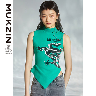 Mukzin Designer Green Vest With Dragon Print- DRAGON SCALE PAVILION