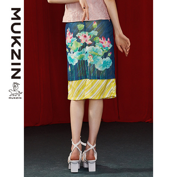 Mukzin Designer Satin Skirt with Lotus Printing - DRAGON SCALE PAVILION