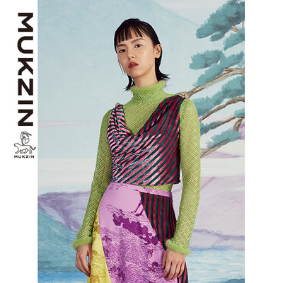 Mukzin Designer Brand Color stripes Irregular Vest- SPACE IN THE GOURD