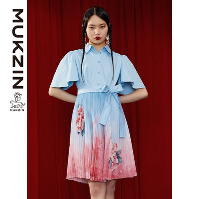 Mukzin Designer Brand Blue Floral Printing Pleated Dress- DRAGON SCALE PAVILION